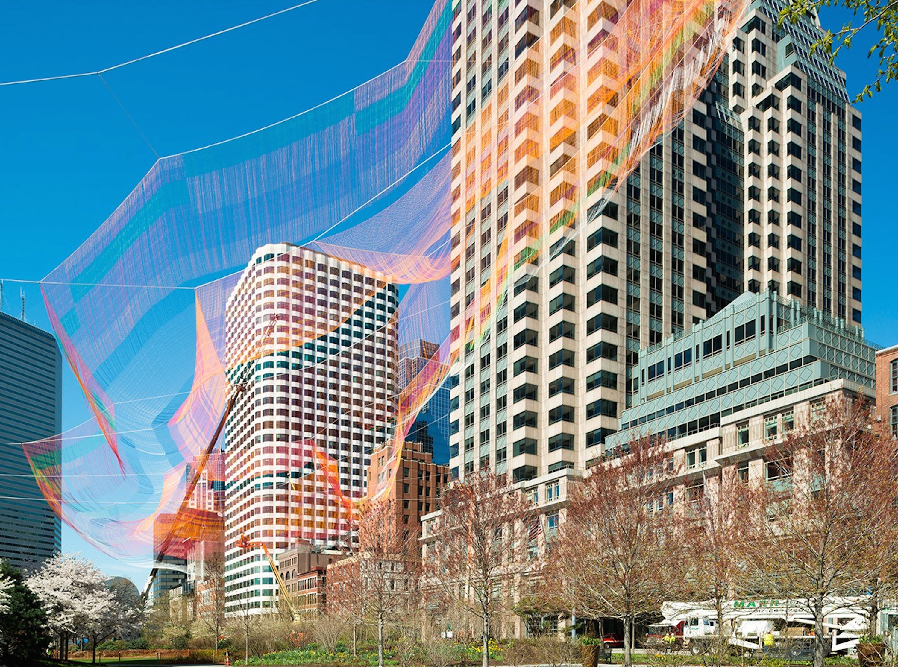 Shawmut Design and Construction Installs Aerial Sculpture in Heart of Boston