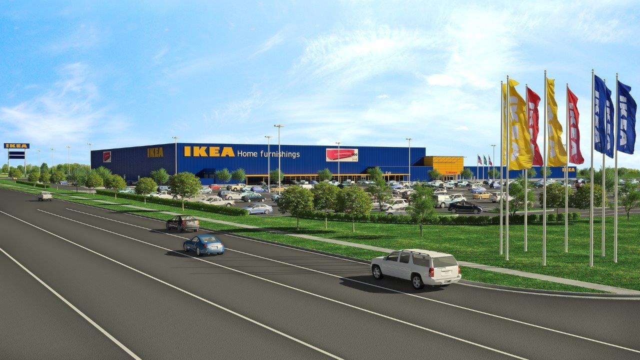 Architectural rendering of future IKEA Grand Prairie (2nd Dallas-area store) opening Fall 2017 - lo