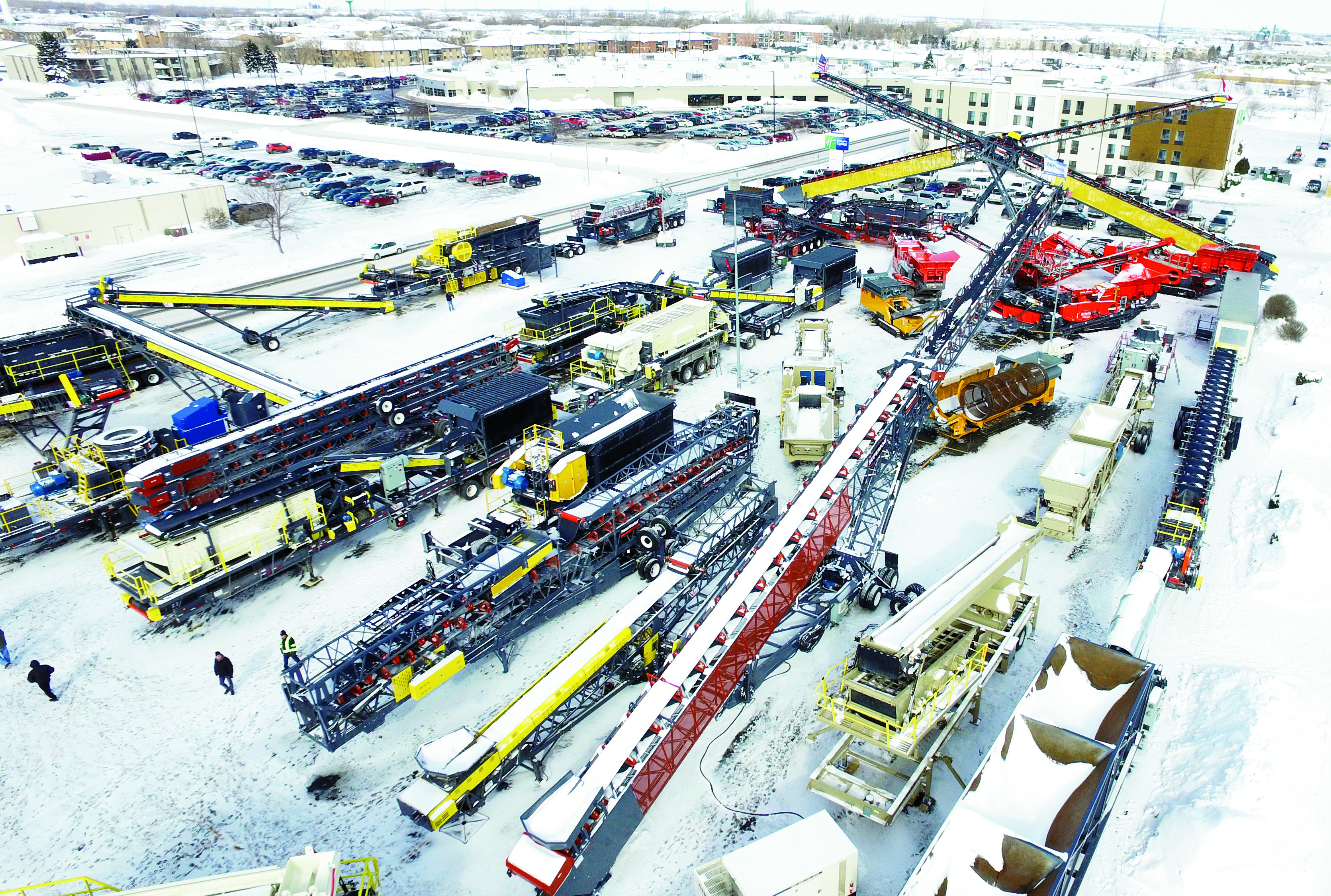 A lot full of construction equipment was on display during the expo